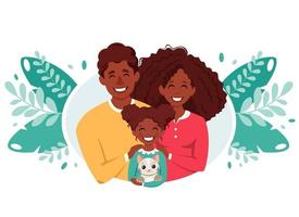 Happy black family with daughter and cat. International Day of families. Vector illustration