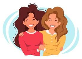 Womens hugging. LGBT concept. Vector illustration in flat style.