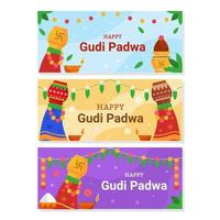 Happy Gudi Padwa Banner Collection vector
