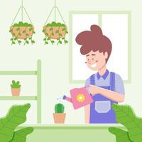 Man Watering Plant at Home Design vector