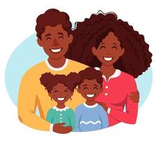 Happy african american family with son and daughter. Parents hugging children. Vector illustration