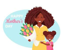 Mother's day greeting card. Black woman with bouquet of flowers and daughter. Vector illustration