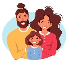 Happy family with daughter. Parents hugging child. International Day of families. Vector illustration