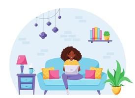 Black woman sitting on a sofa and working on laptop. Freelancer, home office  concept. Vector illustration