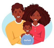 Happy african american family with son. Parents hugging child. Vector illustration
