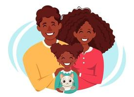 Happy afro american family with daughter and cat. International Day of families. Vector illustration