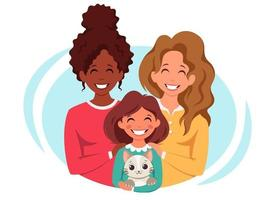 Lesbian family with daughter and cat. LGBT family. Vector illustration.