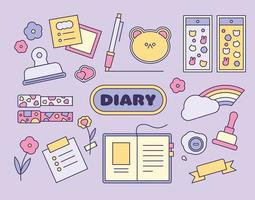 Small items that cutely decorate your diary. outline simple vector illustration.