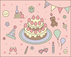 Birthday party cakes and decorations. outline simple vector illustration.