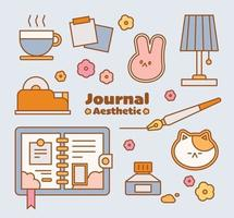 The props to decorate the diary. outline simple vector illustration.