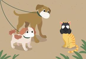 el aire es malo con polvo fino. los perros y los gatos llevan máscaras. ilustraciones de diseño de vectores de estilo dibujado a mano.