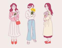 Girls standing with flowers. hand drawn style vector design illustrations.