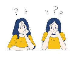 The girls are sitting with their chins thinking. hand drawn style vector design illustrations.