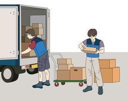 The deliveryman is taking the box out of the truck. hand drawn style vector design illustrations.