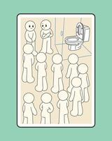 Characters waiting for their turn in front of the only toilet. hand drawn style vector design illustrations.