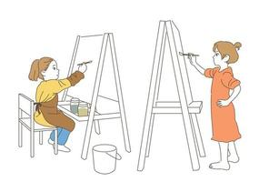 Children painting at easel. hand drawn style vector design illustrations.