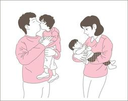 Happy family. hand drawn style vector design illustrations.