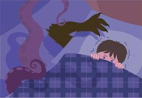 A boy having a nightmare. hand drawn style vector design illustrations.