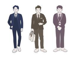 personaje de hombre de negocios en traje. ilustraciones de diseño de vectores de estilo dibujado a mano.