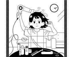 una niña se seca el cabello con un secador. ilustraciones de diseño de vectores de estilo dibujado a mano.