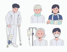 Patient character in hospital uniform. hand drawn style vector design illustrations.