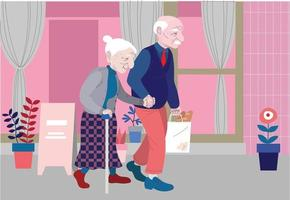An affectionate elderly couple is walking down the street. hand drawn style vector design illustrations.