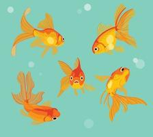 Goldfish in a fish tank. hand drawn style vector design illustrations.