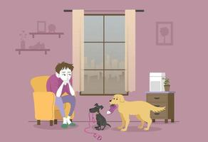 Dogs unable to go for a walk because the outside air is bad. hand drawn style vector design illustrations.