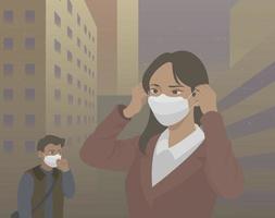 la gente usa máscaras los días en que el aire es malo debido al polvo amarillo. ilustraciones de diseño de vectores de estilo dibujado a mano.