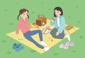 Two friends are having a picnic in the park. hand drawn style vector design illustrations.