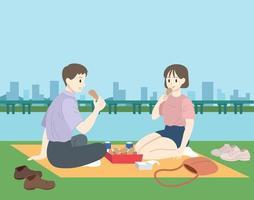 la pareja está haciendo un picnic junto al río. ilustraciones de diseño de vectores de estilo dibujado a mano.