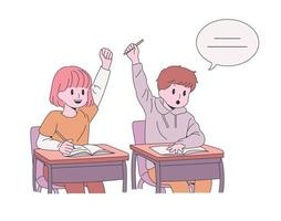 Cute student. Children raising their hands and making a presentation. hand drawn style vector design illustrations.