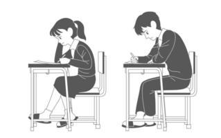 los estudiantes con uniformes escolares están tomando un examen. ilustraciones de diseño de vectores de estilo dibujado a mano.
