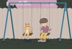 el niño está montado en un columpio con una expresión triste, y un gato está montado en un columpio juntos. ilustraciones de diseño de vectores de estilo dibujado a mano.