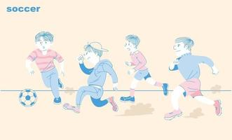The boys are playing soccer together. hand drawn style vector design illustrations.