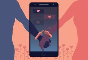 A couple whose cell phones are handcuffed to each other. hand drawn style vector design illustrations.