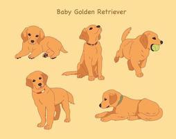 Golden Retriever hand drawn style vector design illustrations.