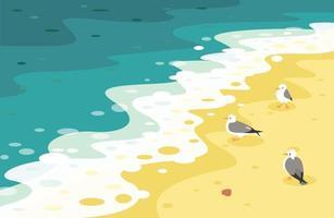 gaviotas en la playa golpeadas por las olas. ilustraciones de diseño de vectores de estilo dibujado a mano.