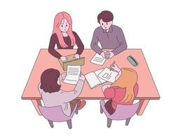 Students are gathering and studying. hand drawn style vector design illustrations.