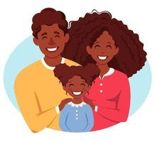 Happy african american family with daughter. Parents hugging child. International Day of families. Vector illustration