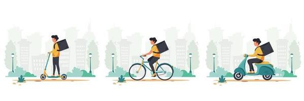 Delivery service concept by scooter, bicycle and electrical scooter set vector