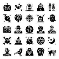halloween glyph vector icons