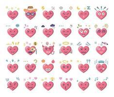 heart feeling flat vector icons