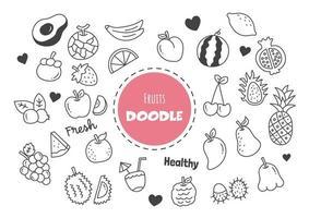 fruits kawaii doodle vector