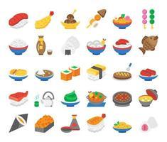 iconos de vector plano de comida japonesa