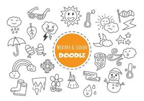 weather and season kawaii doodle vector