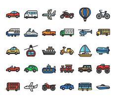 iconos de vector de contorno de color de transporte