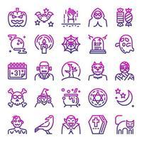 halloween outline gradient vector icons