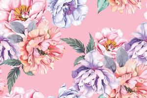 Peony watercolor seamless pattern vector