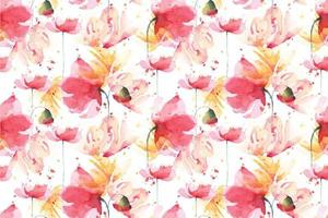 poppies watercolor seamless pattern vector